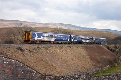 This class 156 and 153 pairing is recorded for the third time on this day. 156469 and 153358 heads north again with 2H92 1449 off Leeds to Carlisle.