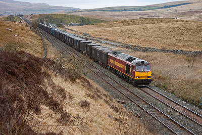 A move slightly south of Ais Gill to Shotlock Hill Tunnel and 60002 approaches the 106 yard long bore with 6E13 1245 Newbiggin to Milford Sidings empty gypsum.