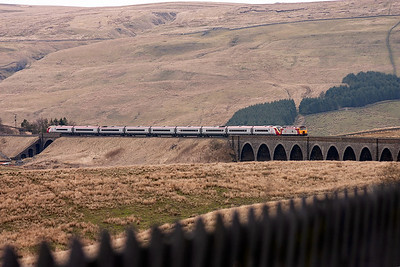 The first diverted working of the day approaches Garsdale with a loco hauled Pendolino unit striding out over Dandry Mire Viaduct.