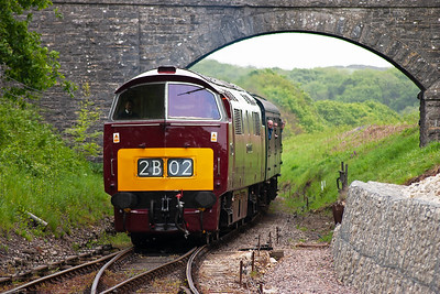 The train passes below Haycrafts Lane and will take the turnout into the up platform loop.  Pete Duncalfe can be seen in the secondman's seat.