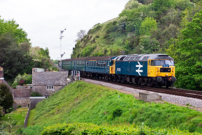 47635 toys with the four coach EMU as it enters the station at Corfe working 2H21 1610 Norden to Harmans Cross.