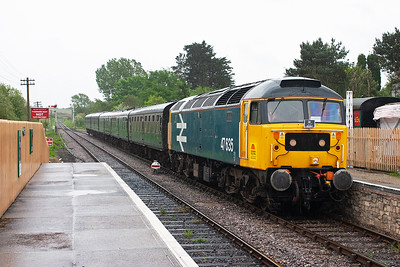 Following a short but heavy downpour, 47635 runs into Corfe station with 2N11 1230 Swanage to Norden. Time for lunch!