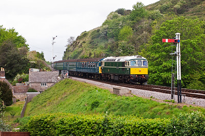In a scene that could have come straight from the late 1960's as D6515 works 3417 into Corfe Castle with 2H08 1210 Norden shuttle to Harmans Cross.