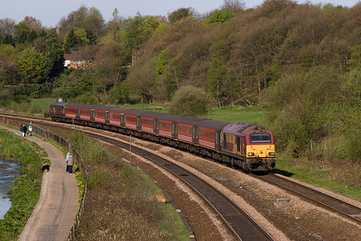 67003 heads 1Z37 Horwich to Wembley, past Ladybridge - another trian of civilised Bolton fans 17/4/11