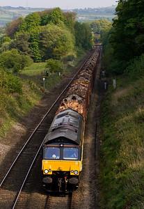 66845 at hoghton Summit, between Blackburn and Preston, with 6J37 Carlisle- Chirk log train.  28/03/11