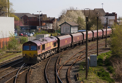 Arperly Jct again; 66149 heads 6L81 Liverpool Fiddlers Ferry 09/04/11
