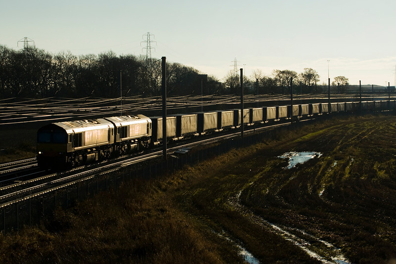 My first shot of 4S43 since DRS took over thhe working,  66421 and 423 are in charge of the lengthy train - Winwick (again!) 01/12/12