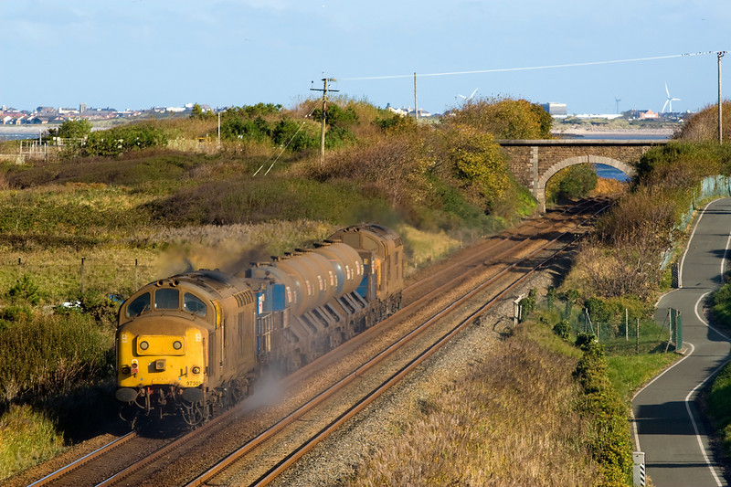 "See what I mean about the sun- this is the ""going away shot of the RHTT.   97302 leads the Northwales RHTT past Penmaenmawr.   97303 is on the rear - 27/10/12"