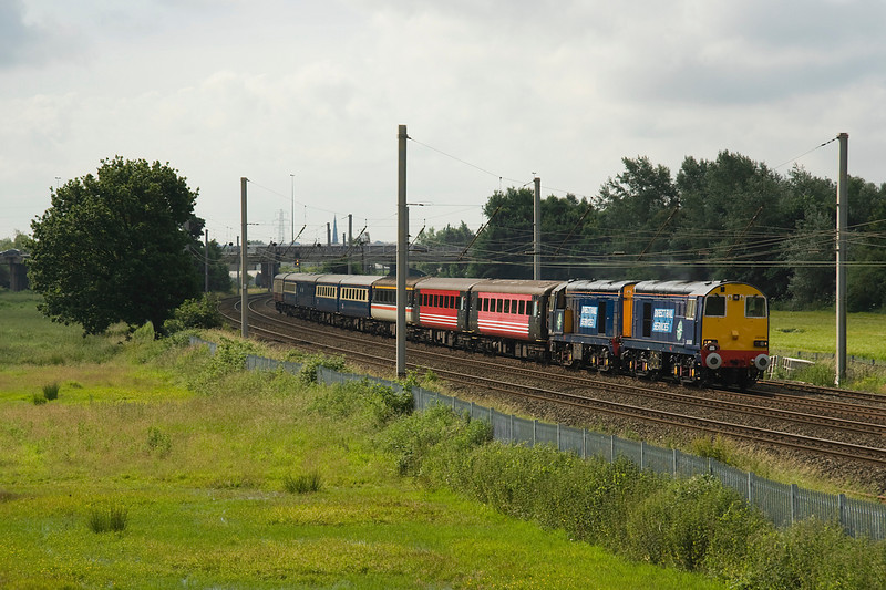 20308 and 20309 head a mixed bag of stock on 1Z26 Stratford on Avon - Carlisle excursion 7/7/12