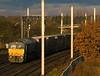 66302 with 4M34 heads into the sun at Winwick - 01/12/12
