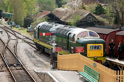 "The second Deltic was present at the gala but not running. D9009 ""Alycidon"" in BR two tone green livery is parked up in Corfe's dock road."