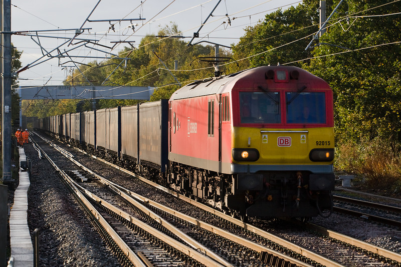 """Plus ca change- After running with pairs of 66s DRS are now hiring in class 92s to work 4S43 Daventry Mossend """"Tesco Express"""".   on 30 October 92015 is the loco  passing the recently remodelled Balshaw lane Jct"""