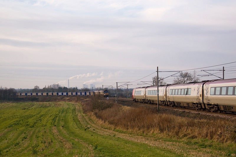 "First trip out of the year and headed to Red bank ( Winwick) to ALmost be ""bowled"" by a southbound Voayager - 66305 and 66427 double-head 4S43 Daventry mossend on 12 January 2013"