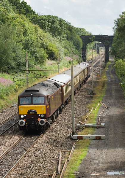 57601 ( with 57314 on the rear) head 1Z33 Crewe Carnforth past Charnock Richard  2 August 2013