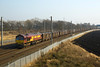 66076 with 6C40 Fiddlers Ferry-Newbiggin Gypsum passing Winwick 5 March 2013