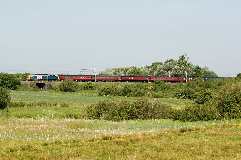 47580 seems to be in favour with west Coast at the moment and certainly looks better at the head of a train then the usual maroon liveried locos, seen here passing Bamfurlong with 5Z55 Carnforth-Bristol ECS working on 8 June 2013