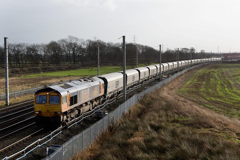 66068 was followed by GBRF 66705 working 4F68 Ironbridge-Livepool Biomass empties