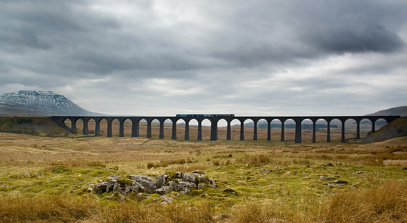 class 156 and a single car class 153 head south across Ribblehead viaduct 2 March 2013