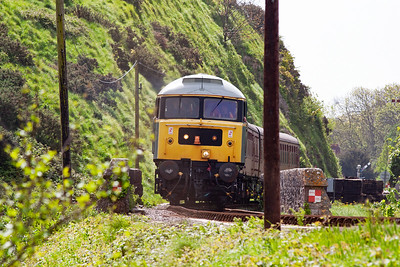 The ubiquitous class 47 makes a welcome return in this year's lineup and former Freightliner 47292 represents the class. Here it crosses Corfe Viaduct with its first working of the day.