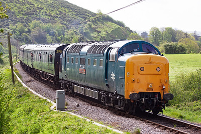 The 100mph rated type 5 brings its train, 2N04 0915 Swanage to Norden, to Norden station and journey's end for now. 55002 is mainline approved and I photographed this loco a few weeks previously back home in Fife on a York to Aberdeen and return railtour.