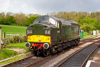 The 2014 Swanage Diesel Gala is up and running. Pioneer class 37 D6700, owned by the National Railway Museum, stands in the loop at Norden waiting to work its first train. 9/5/2014