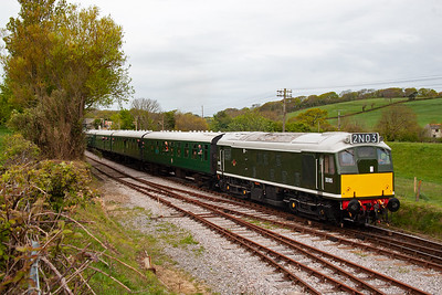 The delightful type 2 wears BR green with small yellow panel and working headcode blinds which show the correct headcode.