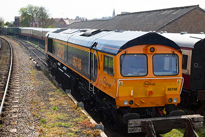 The loco which brought the visiting convoy in is GBRf 66748, one of three locos bought from a Dutch operator. As it is fitted with different equipment GBRf said the loco was not to be used. It is parked up at the end of No1 siding.