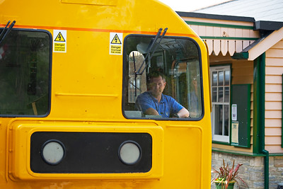 The driver of 20205 is pal Pete Duncalfe and he concentrates as he brings the train for its station stop.