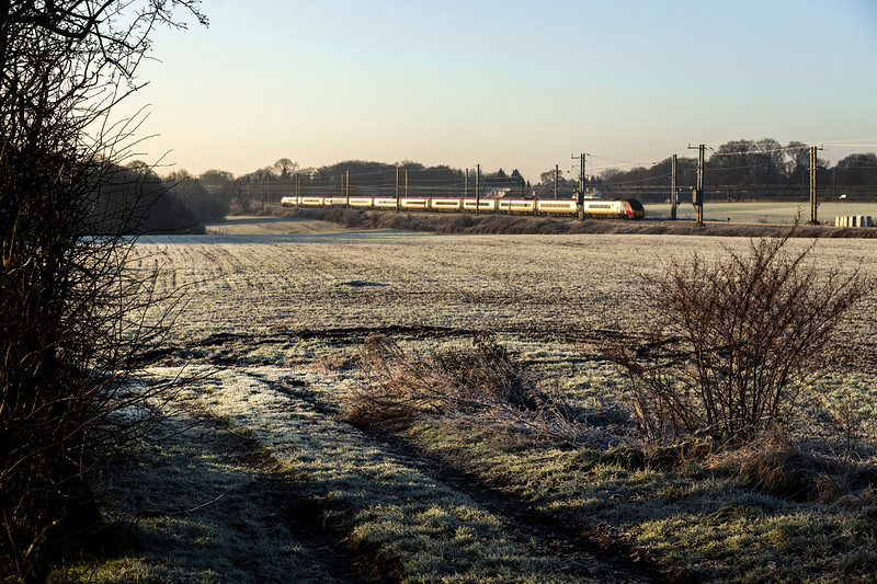 A Pendolino passing Golborne on a frosty 28 December 2016