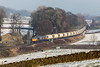 66765 trundles along the Rylstone branch in perfect sunshine and snow - 6D64 Rylstone to Hunslet 12 December 2017