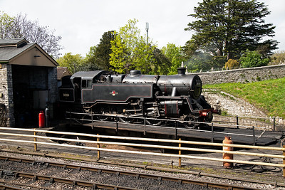 Moving to Swanage and we are lucky to get somewhere to park by the shed.  80104 is in light steam on the turntable.