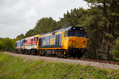 """The first loco convoy heads for Swanage with 0Z50 0632 off Kidderminster.  The Class 50 Alliance works closely with GBRf and two of their class 50 locos have been repainted into GBRf livery.  One such is 50007 """"Hercules"""" which also carries the number 50014 and name """"Warspite"""" on one side.  8/5/2019"""
