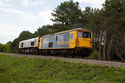 As 59003 is airbraked only, 73119 comes with it as it is dual braked and will act as brake translator for all the class 59 trips.