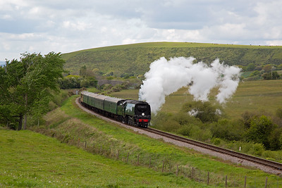 Moving again and a return to Afflington and 34072 comes over the common working 2N15 1440 Norden to Swanage.
