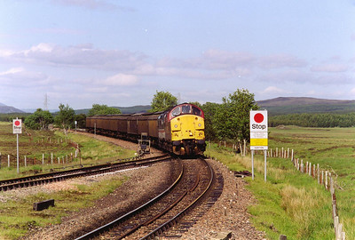 A pair of type 3 locos in EWS and InterCity liveries pass over the turnout at the north end of the loop. 37114 and 37152 front 7D60 1430 Fort William Yard to Mossend Yard Enterprise working.