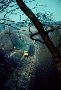 Class 312 unit leaving Welwyn tunnels 19/2/84