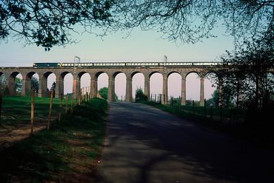 Unidentified Class 47 – 17.15 Kings X Peterborough crossing Welwyn Viaduct 30/4/84