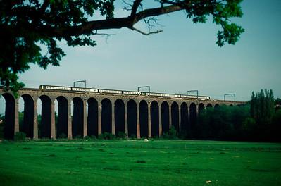 Two 312 units crossing Welwyn Viaduct 18.25 Royston- Kings Cross  24/5/84