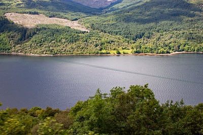The view of Loch Long seen from high above from the railway.