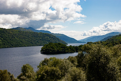 This stretch of water is the famous Loch Lomond looking south, this is the north end of the loch.