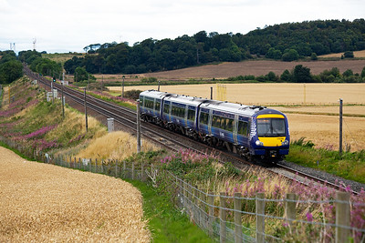 This turbostar has had a trip round the Fife Circle outer with a break at Glenrothes with Thornton.  So it started from there at 1121 back to Edinburgh with headcode 2K24.