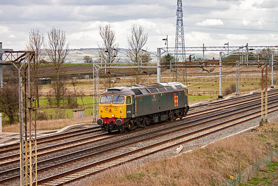 A most pleasant surprise is veteran Brush type 4 47145 running north on the down slow. It is operated by FM Rail. This celebrity loco was cut up for scrap on August 16th 2009.