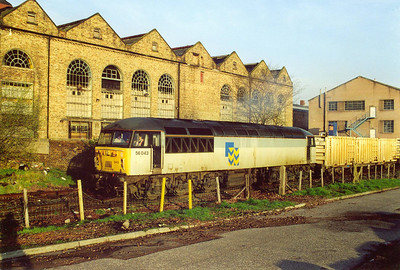 The early morning sun is wonderful as a Trainload Construction liveried 56043 gets away from the Powderhall Refuge Transfer Station with 6B41, due off at 0709, to Oxwellmains land fill site near Dunbar.
