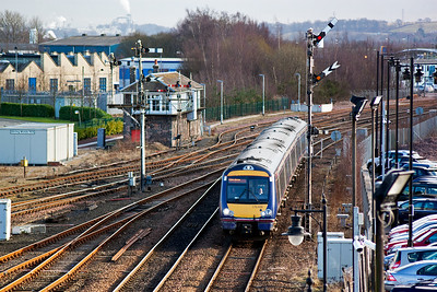 A class 1 working slows for its station stop. 170428 is diagrammed on the Aberdeen road, 1A69 1441 Glasgow Queen Street to Aberdeen. 45 years ago this may have been a class A4 working on a 3 hour express.
