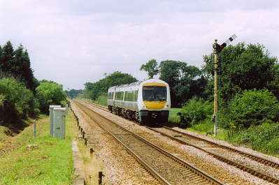 Still at Harling Road, Turbostar 170205 passes the down home semaphore with service 1P78 1159 Cambridge to Norwich.