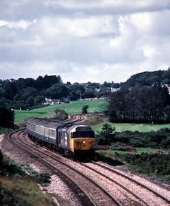 50018 approaching Par with train from Penzance 5/9/85