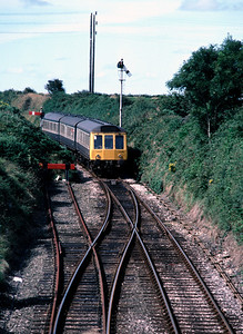 DMU approaches St Dennis Junction from Newquay 6/9/85