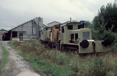 Redundant locos at Marland China Clay Quarry 2/9/85