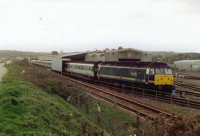 A mile or so from Penzance station is the depot at Long Rock. FGW 47811 sits quiet at the head of its rake of mkIII sleeper stock. It will later go down to the station to take up its duty.
