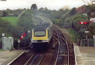 43183 clears the platform end and the low down starter for the final 5 1/2 miles of the run into Penzance. This train was running late possibly because of the earlier late train at Truro.